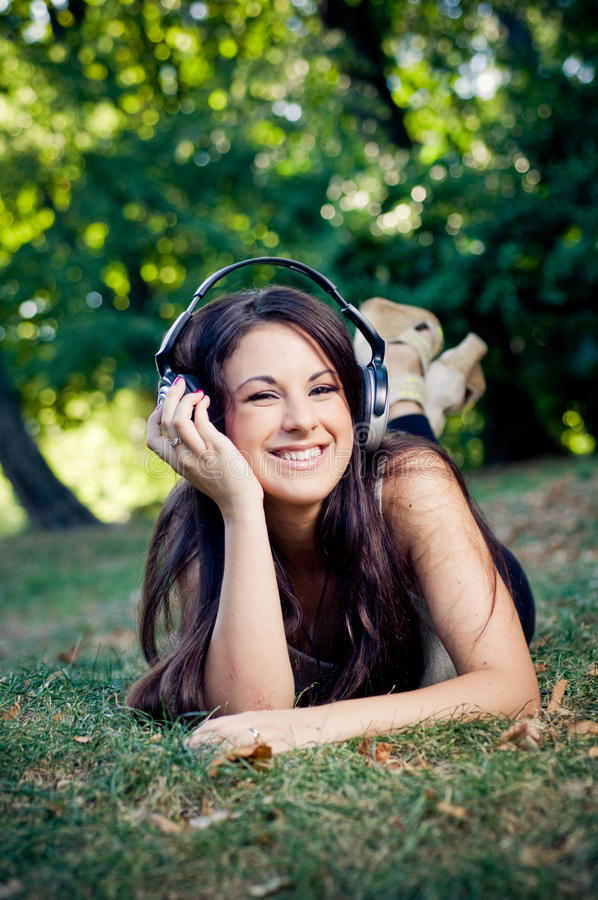 Download Girl With Headphones Smiling Stock Photo - Image: 17916262