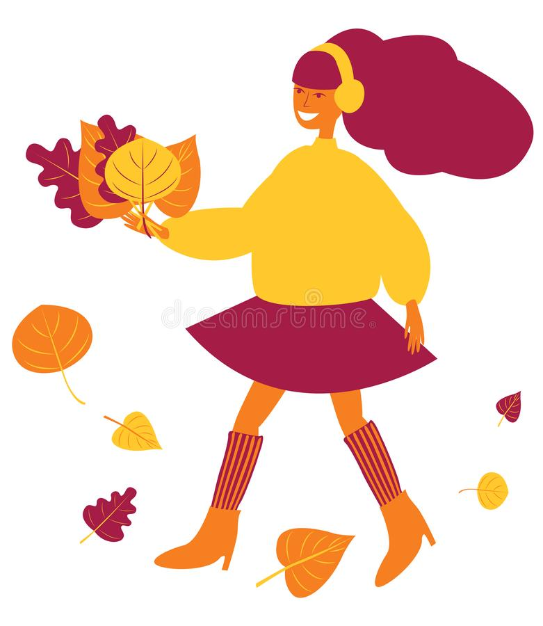 Girl in headphones walks in the fall. Under her feet flying leaves. Girl in headphones walks in the fall. She holds autumn leaves in her hands. Under her feet stock illustration