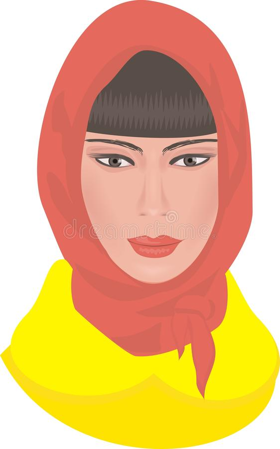Download Girl in a headscarf stock vector. Image of woman, yellow - 11363356