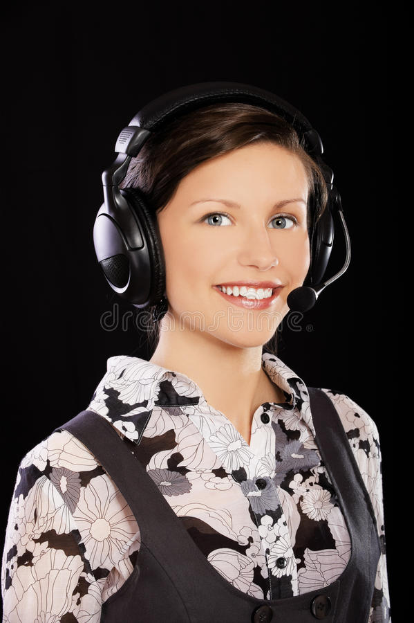 Girl in headset royalty free stock images