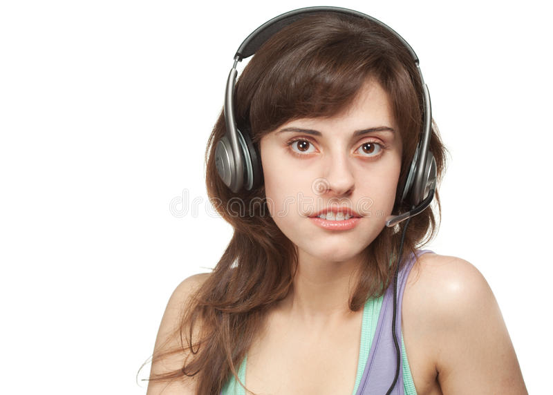 Download Girl with headset stock image. Image of young, caucasian - 19231445
