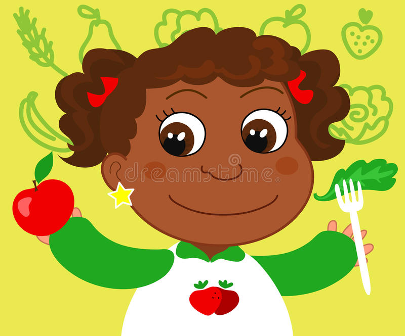 Girl with healthy food royalty free illustration