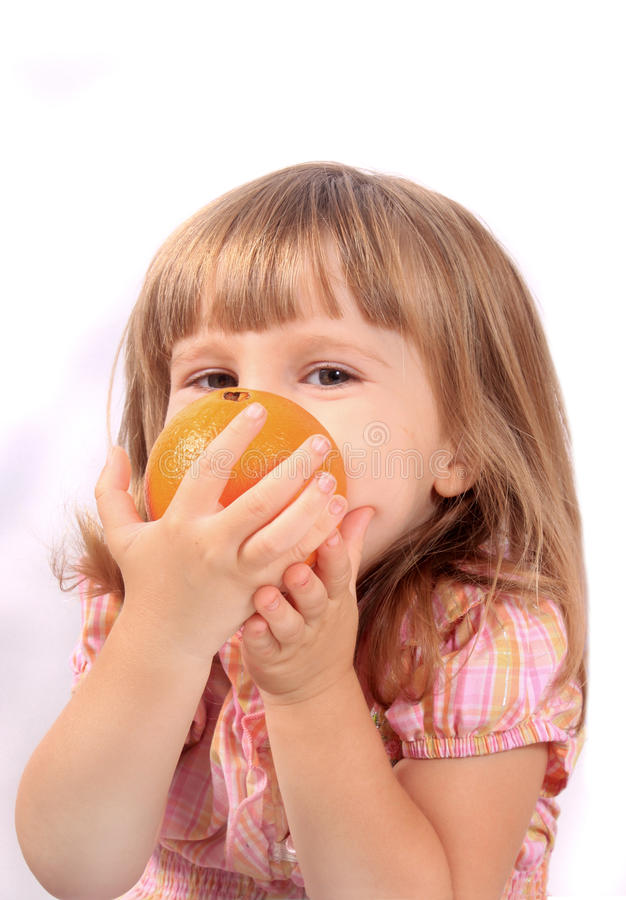 Girl with healthy fruit stock image