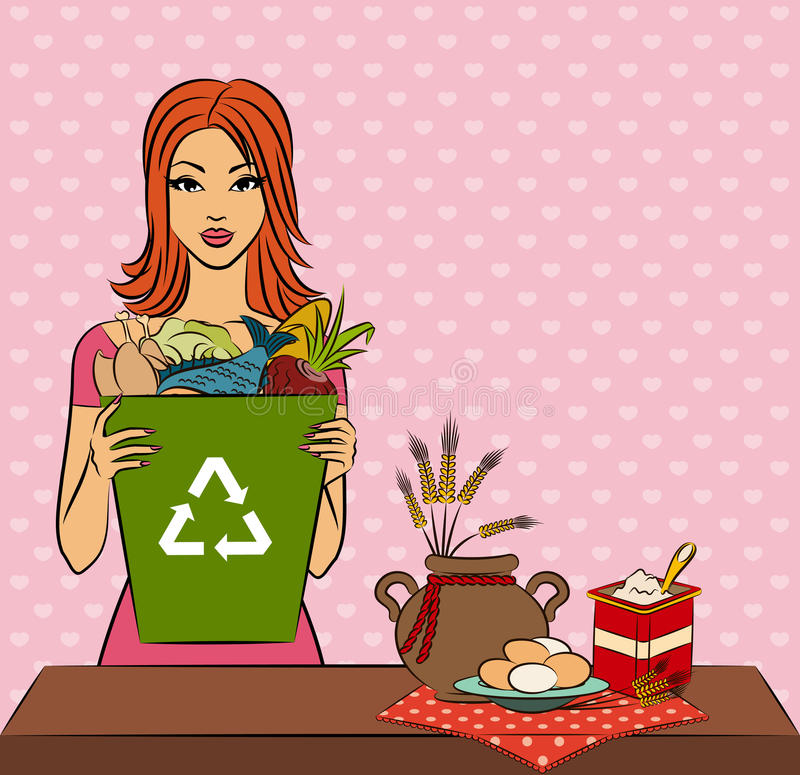 Download Girl With Healthy Meal Ingredients Stock Vector - Illustration: 21640695