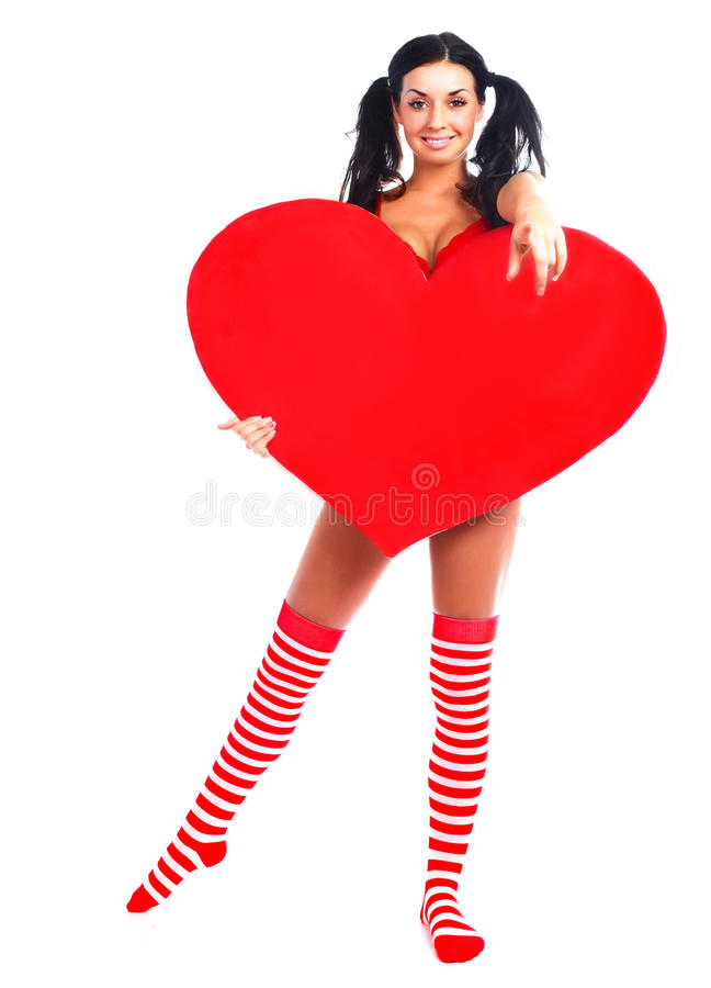 Girl with a heart stock photography