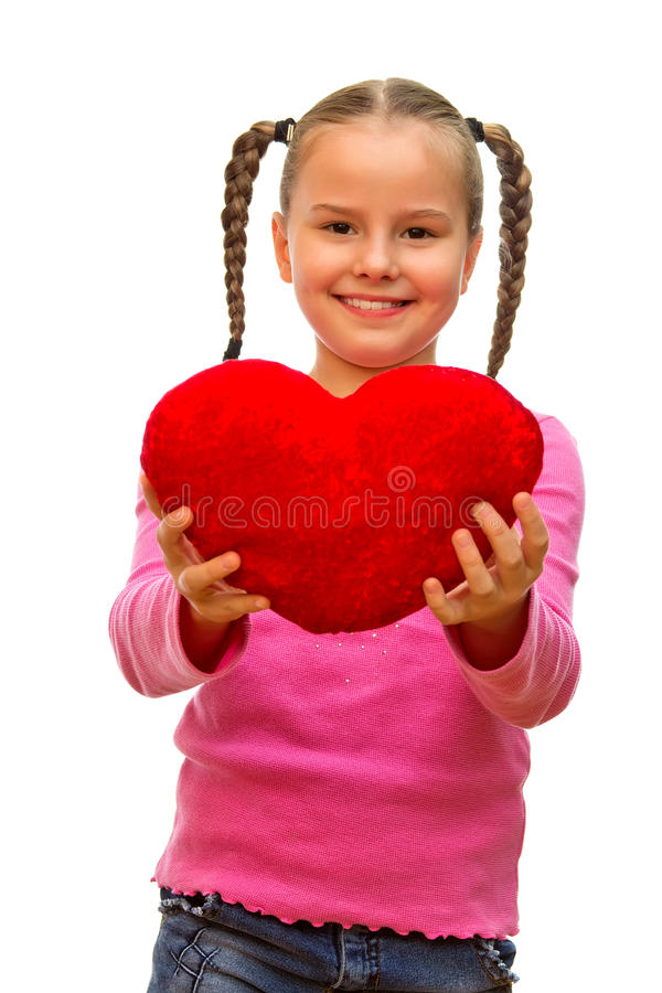 The girl with the heart. stock images