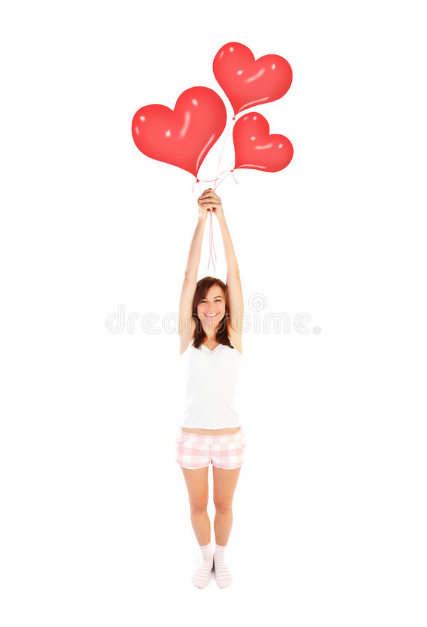 Download Girl with heart balloons stock photo. Image of adult - 29001090