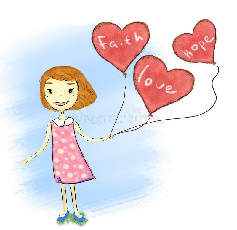 Girl_With_Heart_Baloons ilustração do vetor