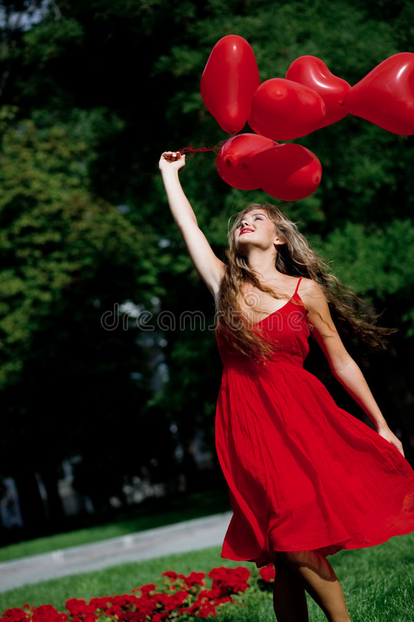Girl with hearts royalty free stock photos