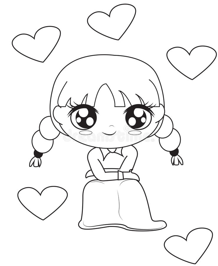 Girl with hearts coloring page. Useful as coloring book for kids vector illustration