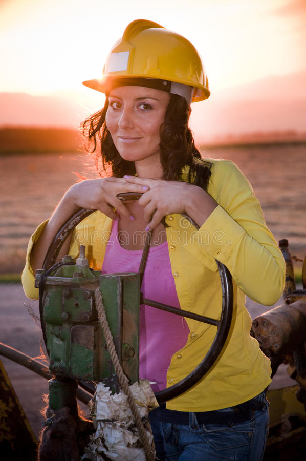 Download Girl with helmet stock photo. Image of operate, labor - 26331432