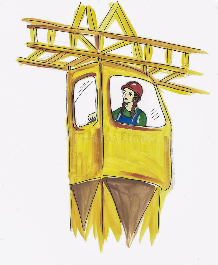 Girl in a helmet working on a construction crane . gouache drawing on paper royalty free illustration