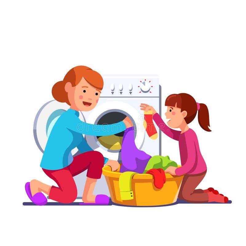 Girl help mum loading laundry to washing machine. Girl kid helping mother sorting, loading laundry to washing machine from clothes basket. Mum and daughter doing stock illustration