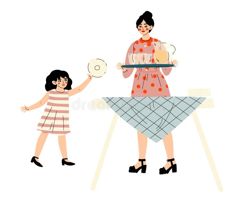 Girl Helping Her Mother Set the Table, Family Having BBQ Party Outdoors Vector Illustration. On White Background vector illustration