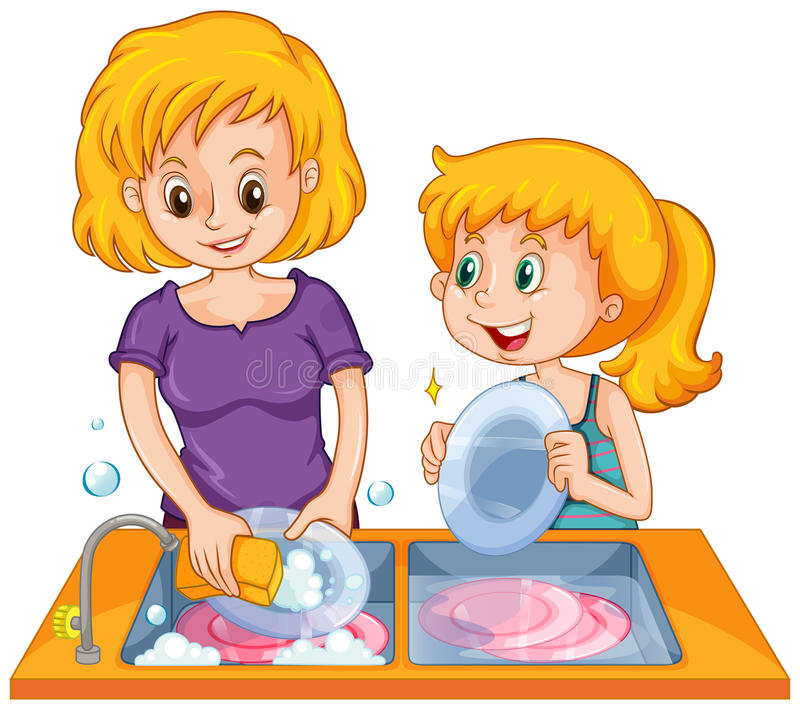 Girl helping mom doing the dishes stock illustration