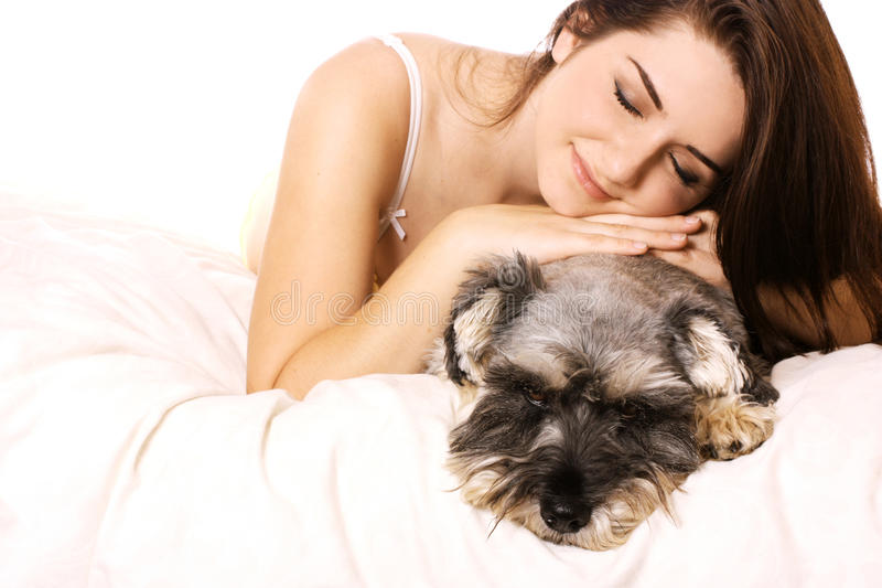 Girl with her adorable Schnauzer royalty free stock image
