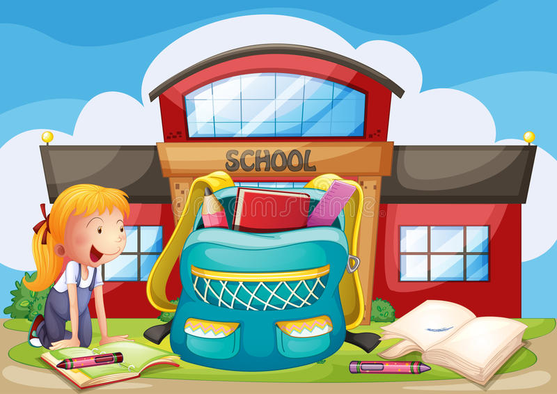 A girl with her bag at the school ground stock illustration
