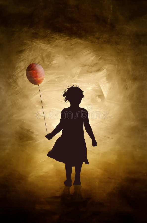 A girl and her balloon. stock photo