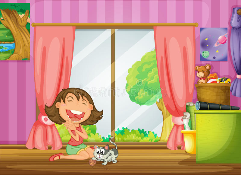 A girl and her cat stock illustration