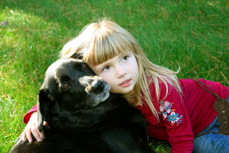 Girl and Her Dog 2 stock photography