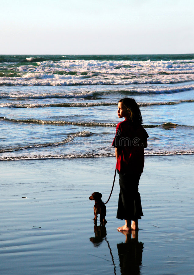 Girl and her dog 2 royalty free stock photos