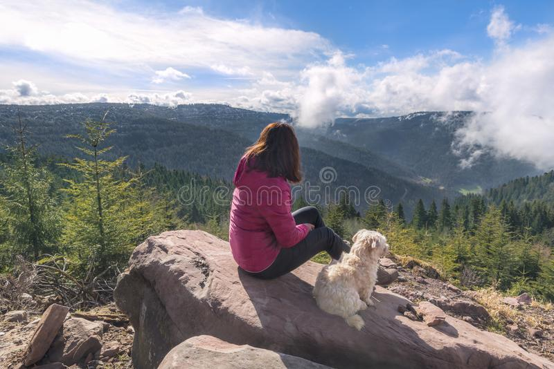 Girl and her dog sitting on a rock high up royalty free stock images