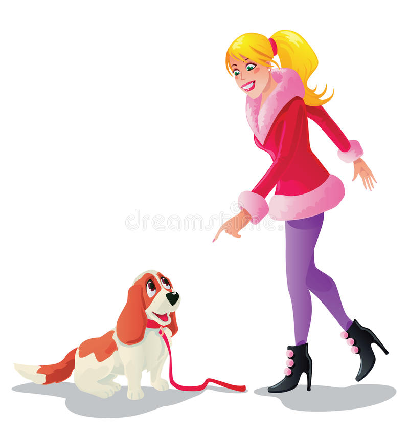 Download A girl with her dog stock vector. Image of silhouette - 30946019