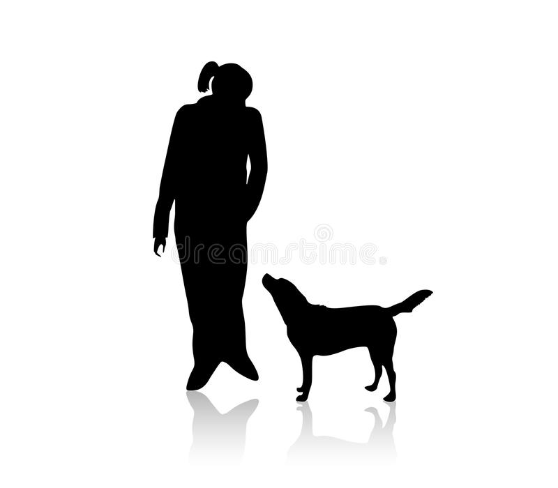 A Girl With Her Dog On The Walk Royalty Free Stock Image