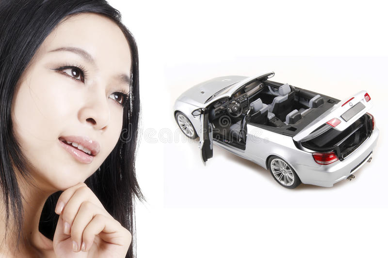 Download Girl With Her Dream Car Stock Image Of Desire