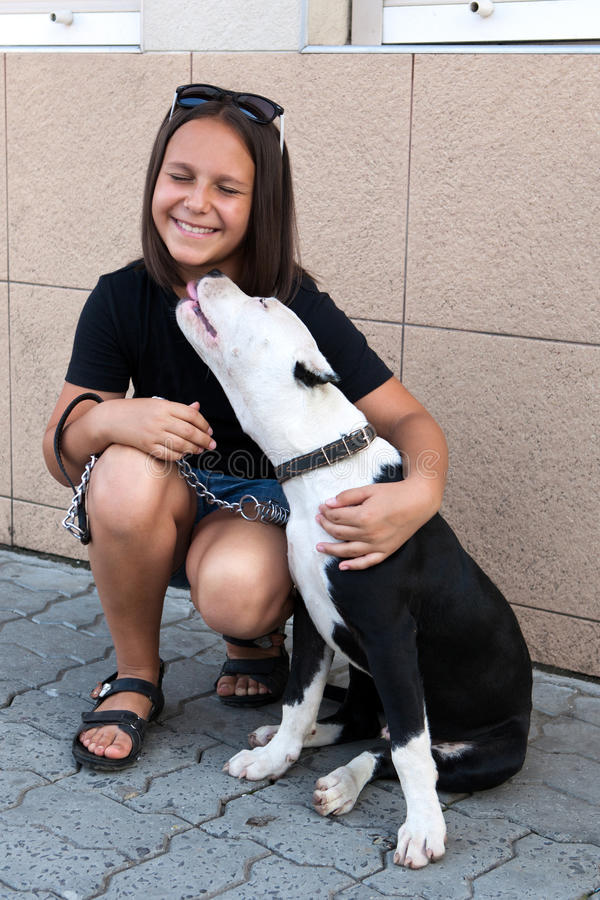 Download Girl With Her Four-legged Friend Stock Image - Image: 21230509