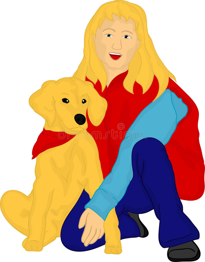 Download Girl With Her Golden Retriever Stock Illustration - Image: 19125818