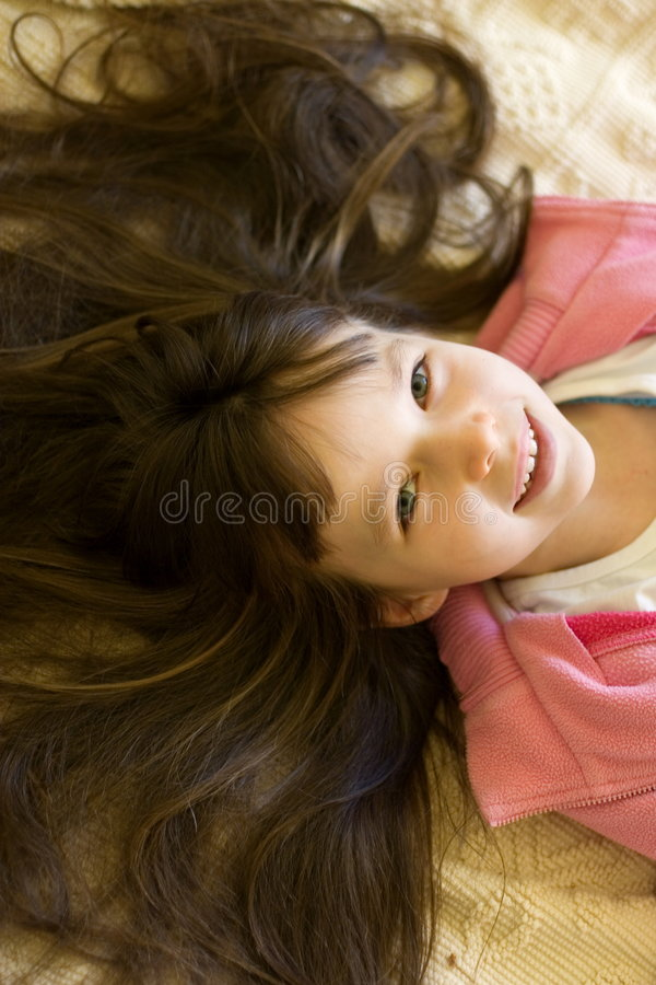 Girl and her hair royalty free stock images