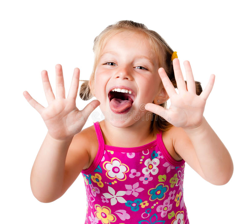Girl with her ??hands up. Cute little girl with her ??hands up on the white royalty free stock images