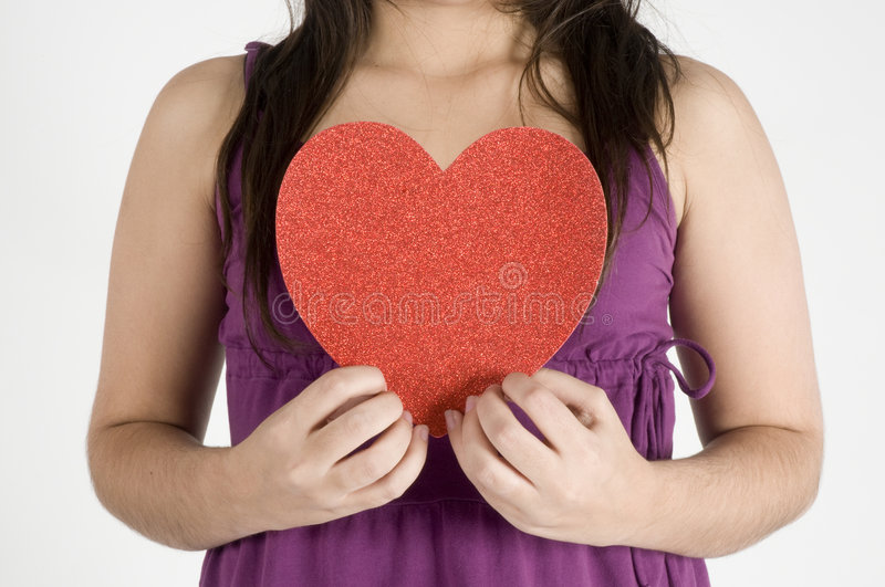 Download Girl with her Heart stock photo. Image of female, hand - 8028348