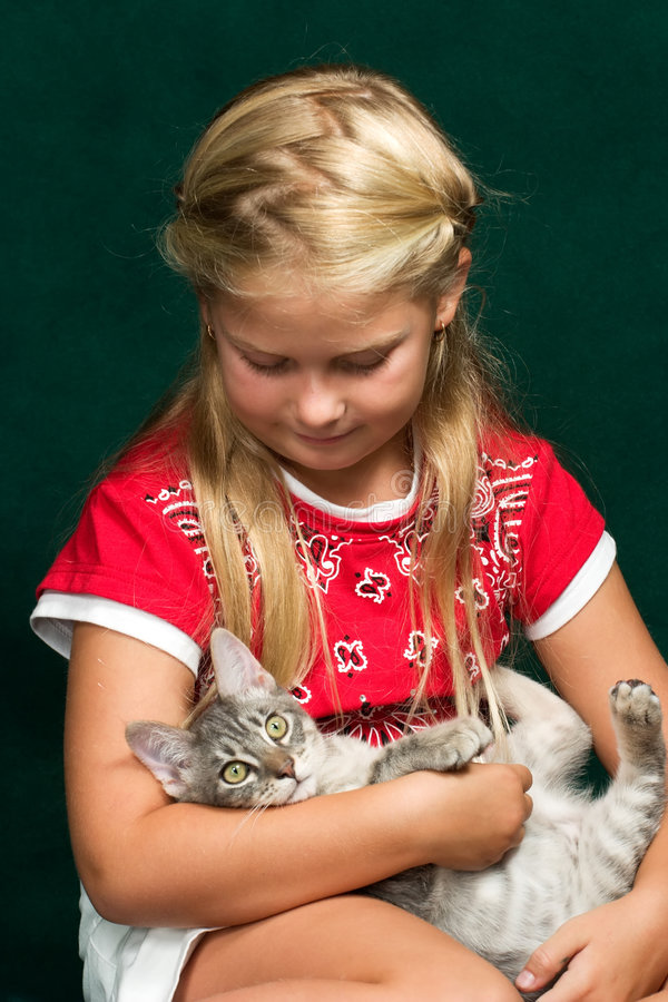 Download Girl and her kitty stock photo. Image of children, happy - 2564460