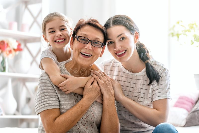 Girl, her mother and grandmother royalty free stock images