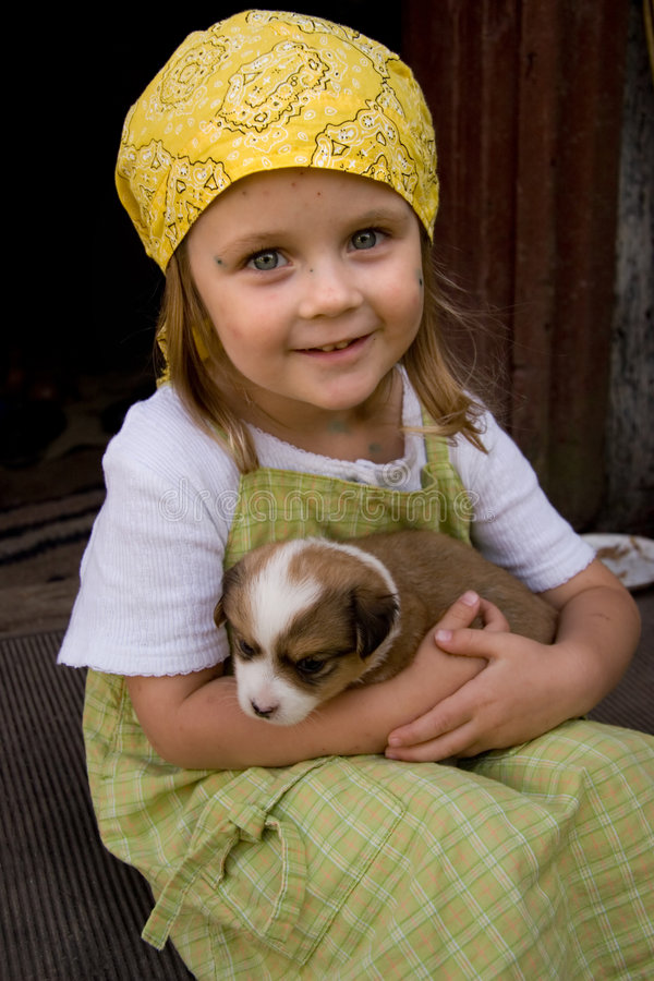 Girl and her pet royalty free stock photo