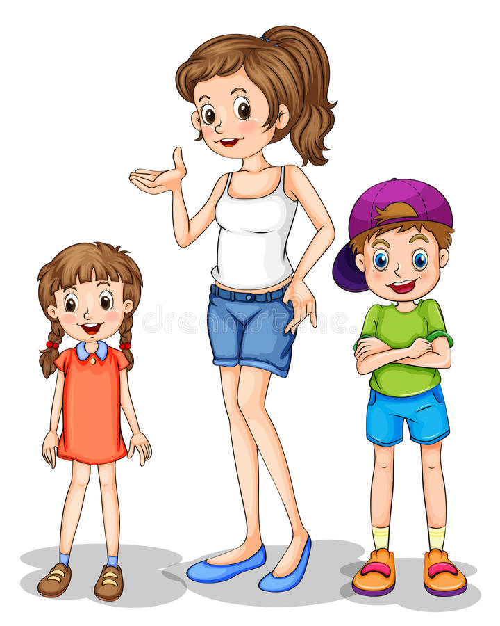 A girl and her siblings vector illustration