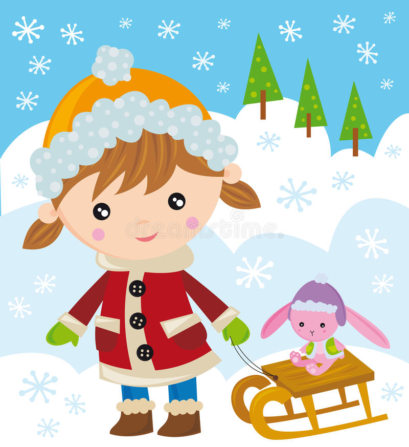 Girl with her sleigh. Vector illustration of little girl with sleigh stock illustration