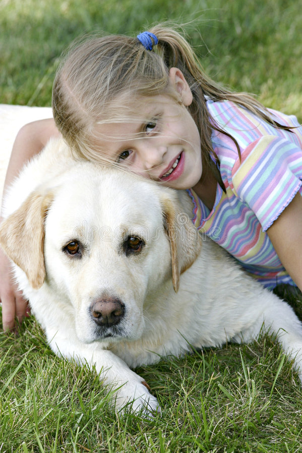 Download Girl and her Yellow Lab stock photo. Image of labrador - 960044