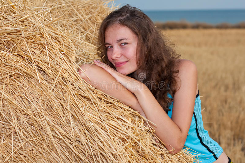 Download Girl with hey stock image. Image of cheerful, blue, gorgeous - 11569705