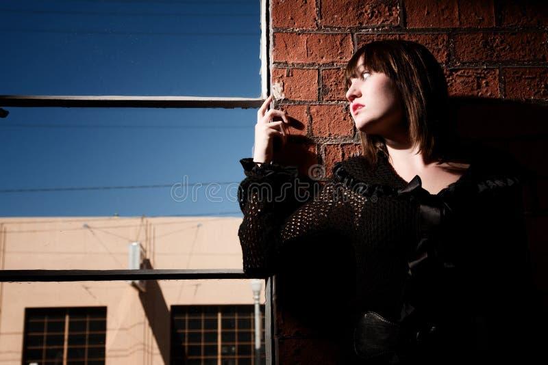 Download Girl Hiding stock photo. Image of afraid, warehouse, wall - 12433296