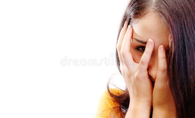 Girl hiding stock photo