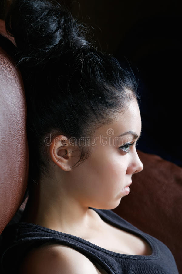 Girl with a high coiffure royalty free stock photos