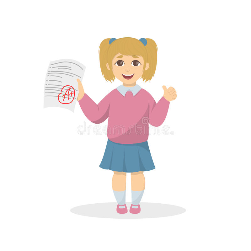 Girl with the highest grade. Happy child with A plus grade royalty free illustration