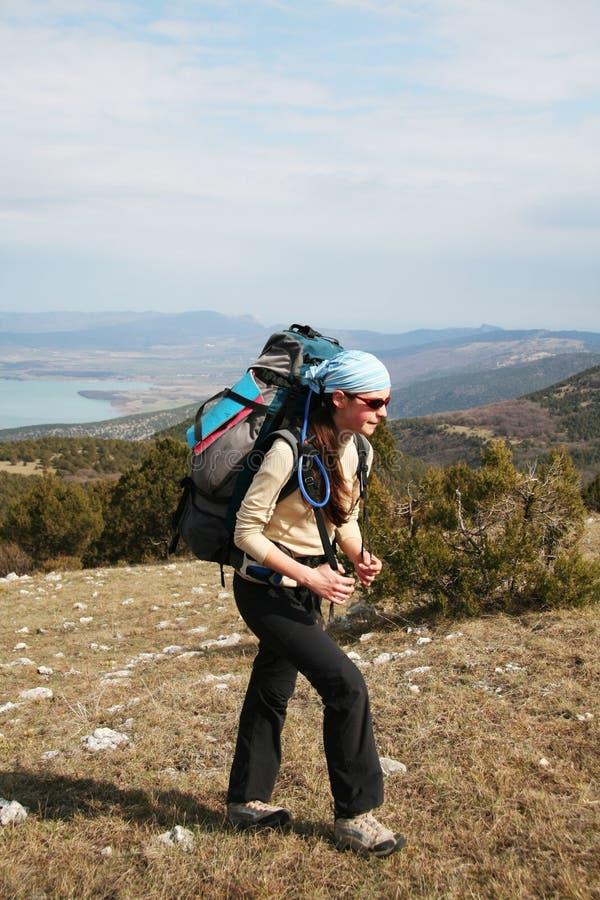 Girl in hike stock image