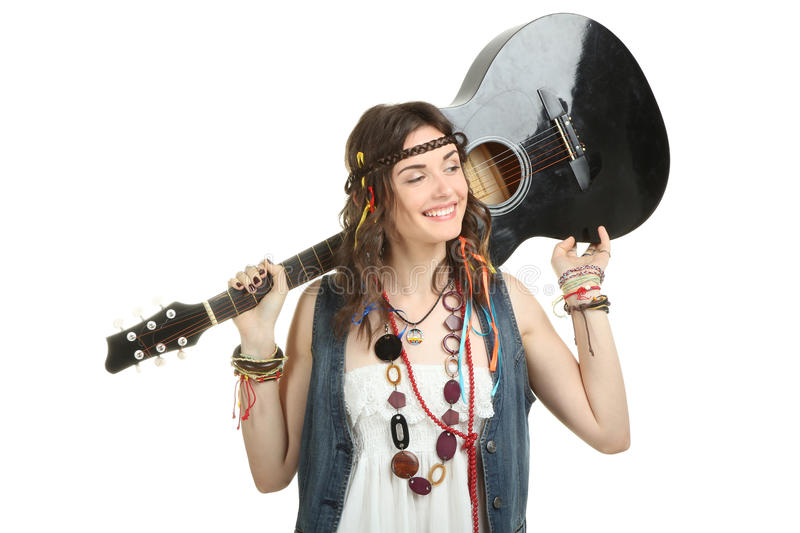 Girl hippie. Beautiful girl hippie with a guitar isolated on white background stock photos