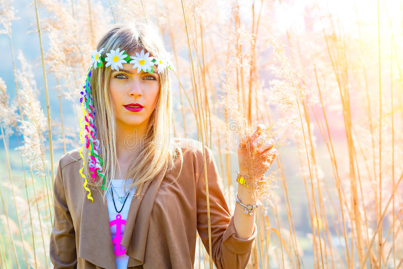 Girl hippie indie style in nature royalty free stock images