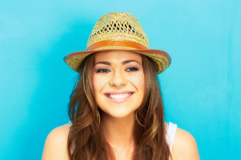 Girl hipster on blue background stock images