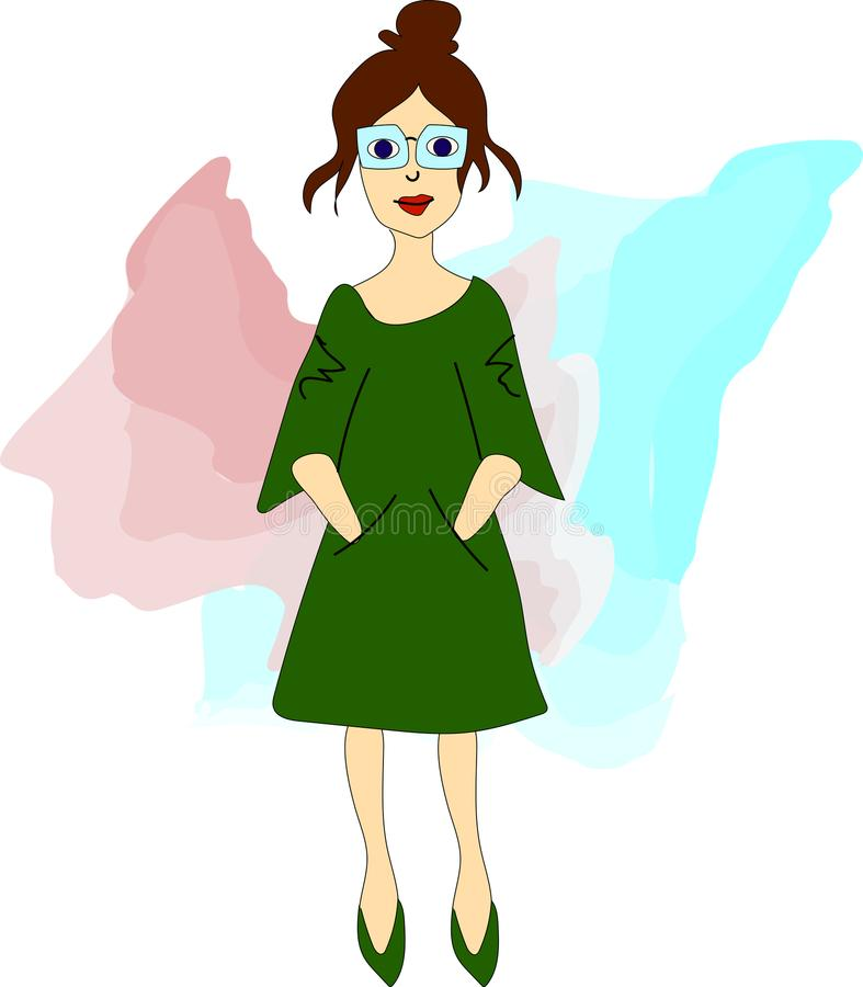 Girl hipster in glasses and green dress. Vector illustration with hipster girl, geek glasses, hat in flat style royalty free illustration